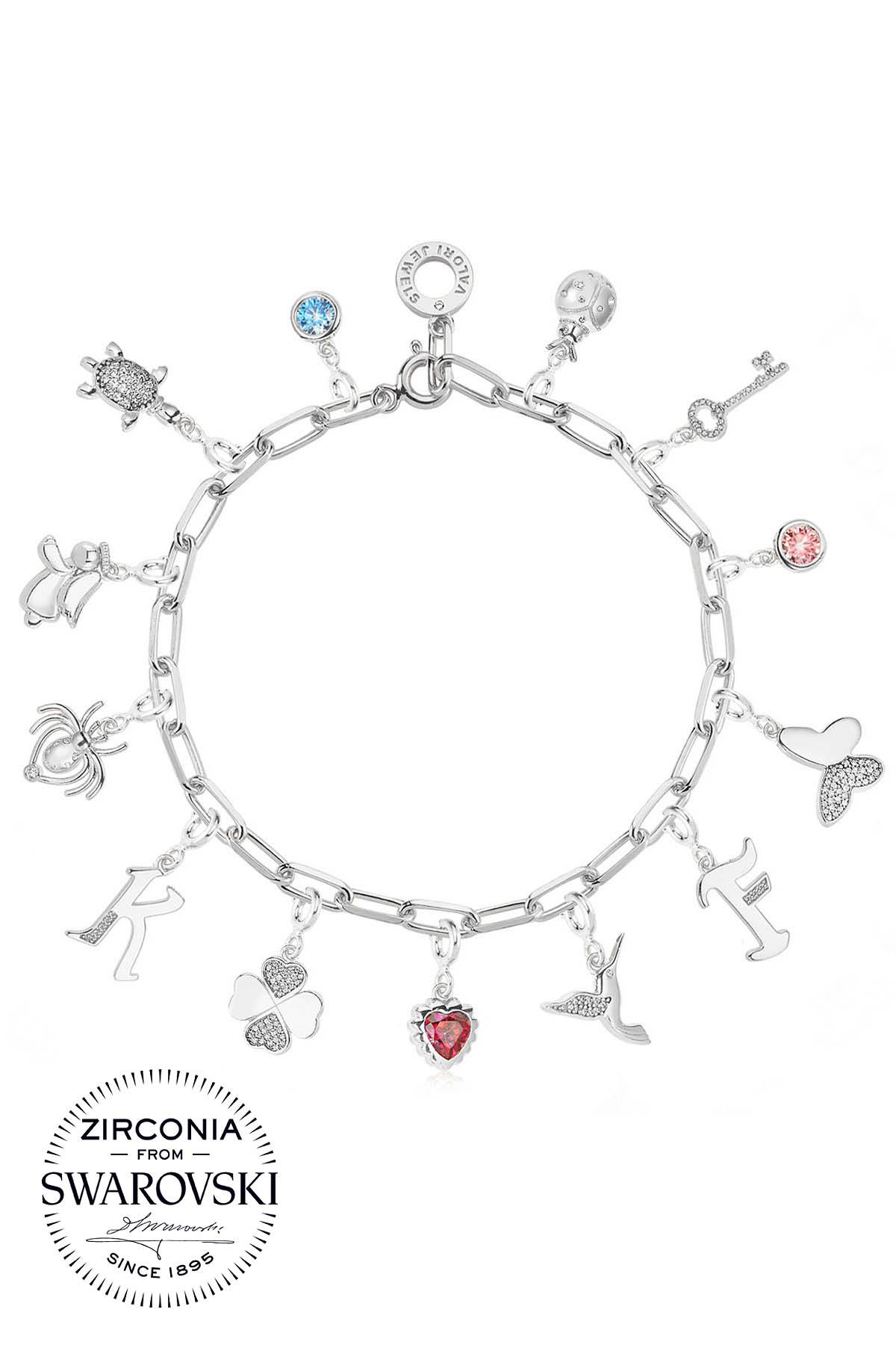 Assorted Symbols, Swarovski Zirconia Gemstone, Rhodium Plated, Sterling  Silver Charm Bracelet - STCHBL005