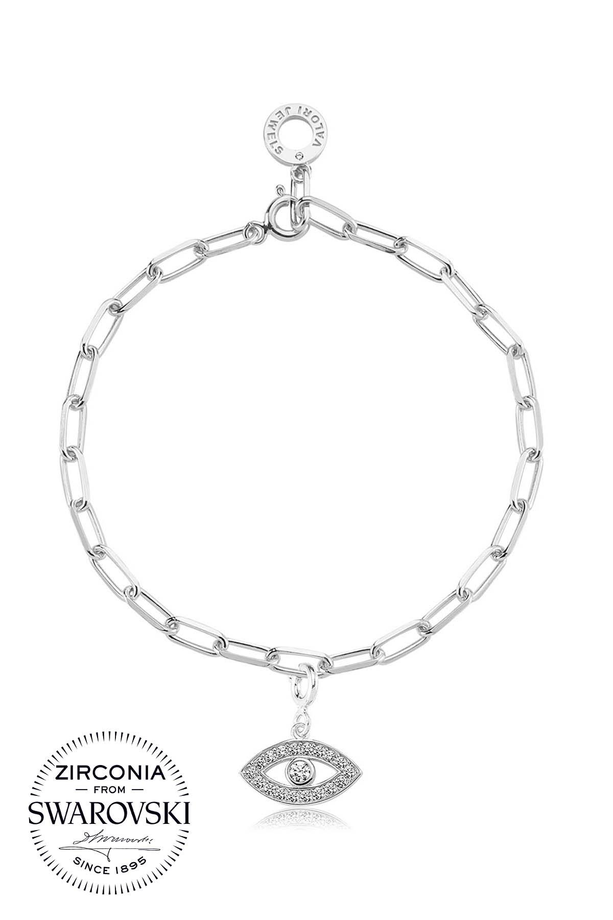 Evil Eye, Swarovski Zirconia Gemstone, Rhodium Plated, Sterling Silver  Charm Bracelet - STCHBL015