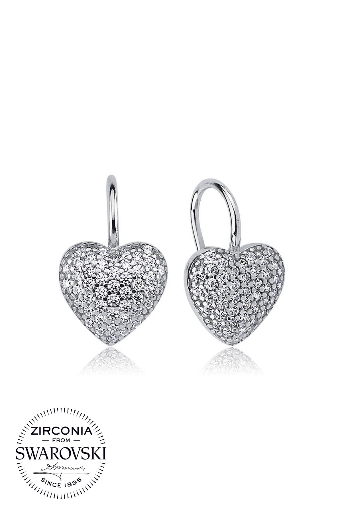 Details about  /Heart Zirconia Earrings White 750er White Gold 18K Gold Plated Silver O2812